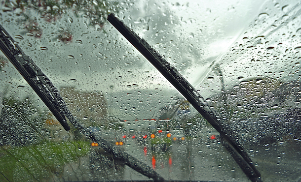 Windshield,Wipers,From,Inside,Of,Car,,Season,Rain.,Traffic,Jam.
